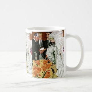 Ceremonia de boda del vintage, recienes casados taza de café