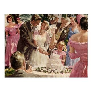 Ceremonia de boda del vintage postal