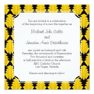 """Ceremonia de boda geométrica de los años 20 del invitación 5.25"""" x 5.25"""""""