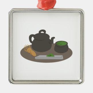 Ceremonia de té japonesa adorno navideño cuadrado de metal