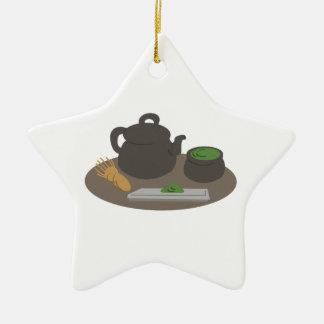 Ceremonia de té japonesa adorno navideño de cerámica en forma de estrella