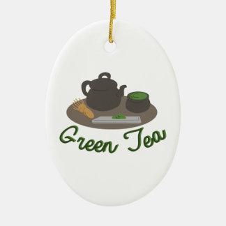 Ceremonia de té japonesa Gree Adorno Navideño Ovalado De Cerámica