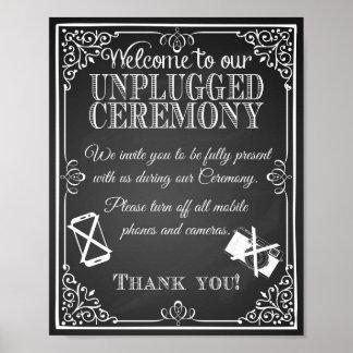 Ceremonia desenchufada pizarra de la muestra del póster