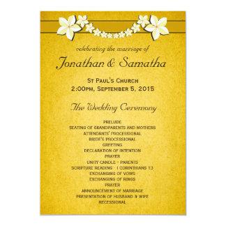 """Ceremonia y fiesta rústicos del programa del boda invitación 5"""" x 7"""""""