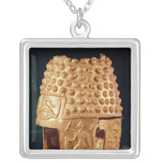 Ceremonial helmet silver plated necklace