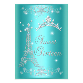 Ceremony and Dinner Menu Sweet 16 Teal Blue 3.5x5 Paper Invitation Card