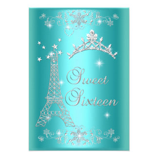 Ceremony and Dinner Menu Sweet 16 Teal Blue Personalized Invites
