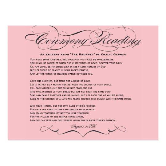 Ceremony Reading Postcard