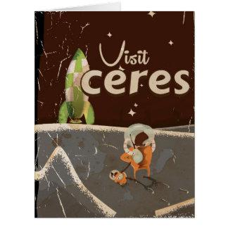 Ceres Dwarf Planet vintage travel poster Card