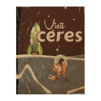Ceres Dwarf Planet vintage travel poster Wood Wall Art