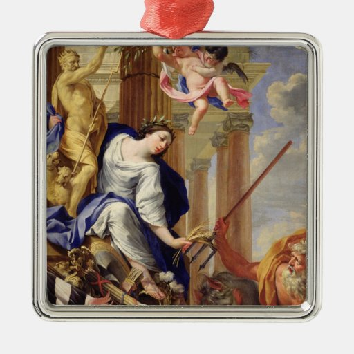 Ceres Vanquishing the Attributes of War Square Metal Christmas Ornament