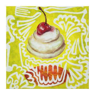 Cereza en la pintura superior de la magdalena lienzo envuelto para galerías