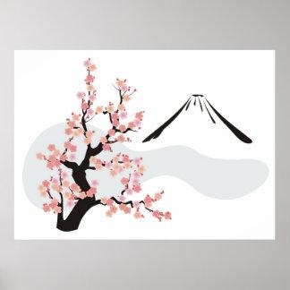 cereza floreciente delante del monte Fuji Póster