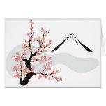 cereza floreciente delante del monte Fuji Tarjeta