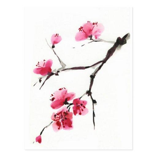 Cereza floreciente. Primavera. Tinta y cepillo Postales