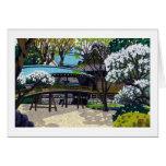 Cereza japonesa fresca del puente de la ciudad del tarjetas