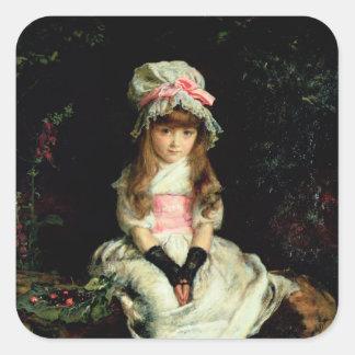 Cereza madura, 1879 pegatina cuadrada