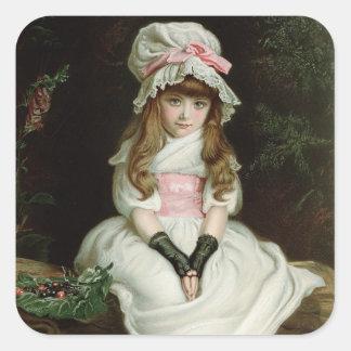 Cereza madura, d 1879 calcomanía cuadrada
