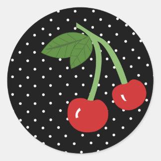 Cereza negra etiquetas redondas
