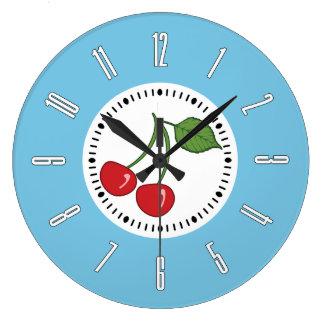 Cereza retra azul reloj de pared
