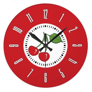 Cereza retra roja reloj redondo grande