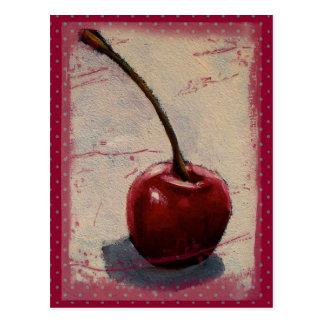 Cereza roja brillante: Pintura original Postal