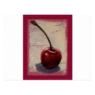 Cereza roja brillante: Pintura original Tarjetas Postales