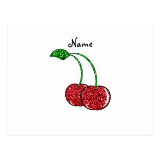 Cereza roja conocida personalizada del brillo postales