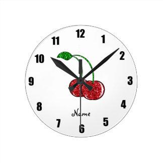 Cereza roja conocida personalizada del brillo relojes de pared