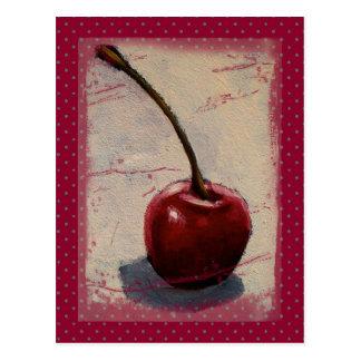 Cereza roja sangre en antecedentes punteados: Arte Tarjetas Postales