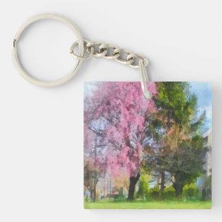 Cereza y árbol de hoja perenne que lloran llavero cuadrado acrílico a doble cara
