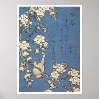 Cereza y Bullfinch que lloran, Hokusai, 1834 Poster