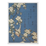 Cereza y Bullfinch que lloran, Hokusai, 1834 Póster