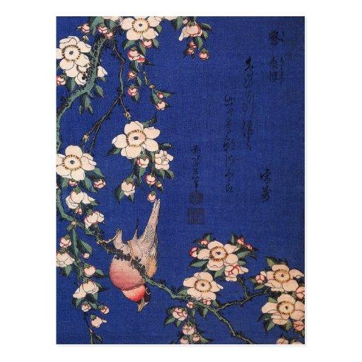 Cereza y Bullfinch que lloran, Hokusai Postal