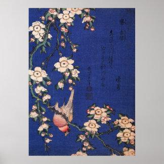Cereza y Bullfinch que lloran, Hokusai Póster