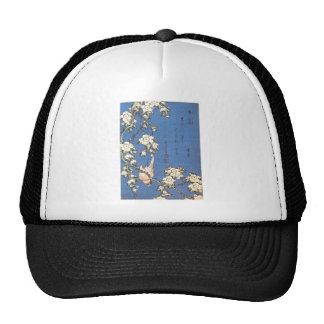 Cereza y Bullfinch que lloran por Hokusai Gorros