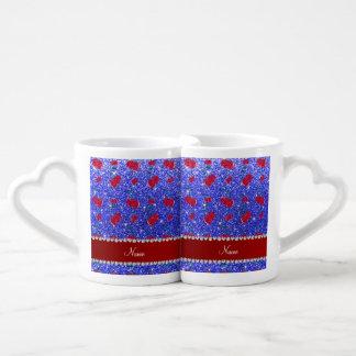 Cerezas azules de neón conocidas personalizadas taza para parejas