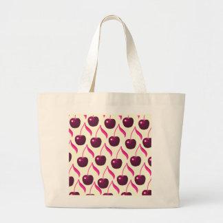 Cerezas con sabor a fruta frescas y modelo poner bolsa tela grande