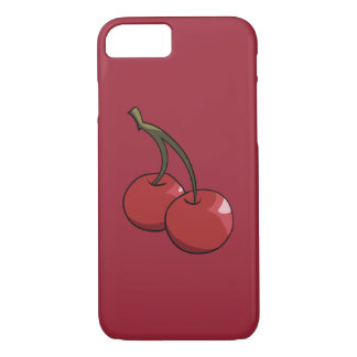 Cerezas de la cereza en rojo funda iPhone 7