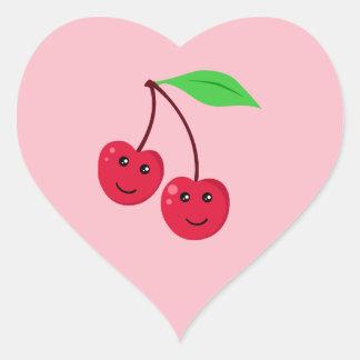 Cerezas de la sonrisa de Kawaii Pegatina En Forma De Corazón