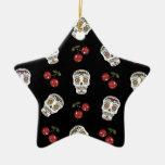 Cerezas de los cráneos del azúcar del Rockabilly Adorno Navideño De Cerámica En Forma De Estrella