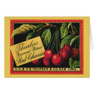 Cerezas de Thurber arte de la etiqueta del cajón Felicitaciones