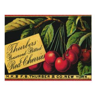 Cerezas de Thurber arte de la etiqueta del cajón Postales