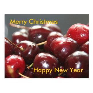 Cerezas del rojo de Christmascard Postales