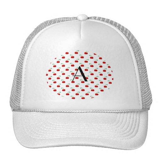 Cerezas del rojo del monograma gorras de camionero