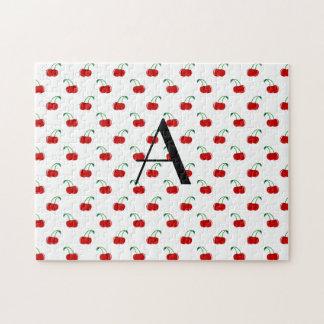 Cerezas del rojo del monograma puzzle con fotos