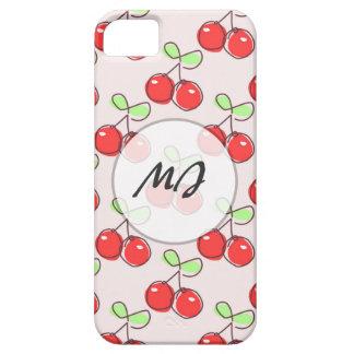 Cerezas dibujadas mano, modelo rosado de la fruta iPhone 5 fundas
