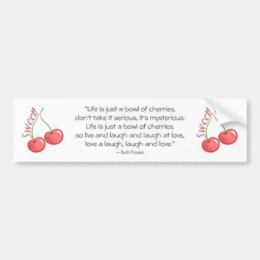 Cerezas dulces etiqueta de parachoque