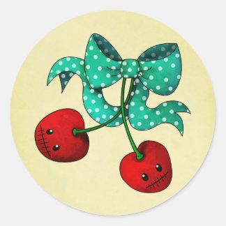 Cerezas dulces etiqueta redonda