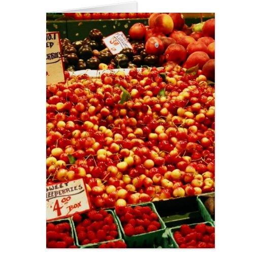 Cerezas en el mercado de lugar de Pike Tarjeta De Felicitación
